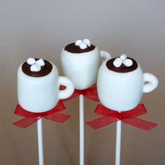 12 Hot Chocolate or Coffee Mug Cake Pops - for Christmas, holiday, winter party favors, hostess or teacher gift, stocking stuffers, Santa. $39.00, via Etsy.