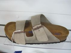 Beautiful Birkenstocks! These slides have taupe suede straps and suede lining #birkenstock