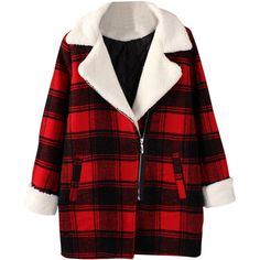 Blackfive London Style Long Sleeves Padded Plaid Coat (3.965 RUB) ❤ liked on Polyvore featuring outerwear, coats, jackets, blackfive, casaco, lapel coat, red coat, slim fit long coat, fleece lined coat and red tartan coat