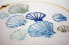 Embroidered Scallop Seashells in Ocean Blue by sometimesiswirl