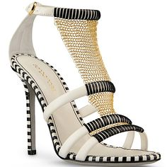 Sergio Rossi black white striped chain mesh mail high heels