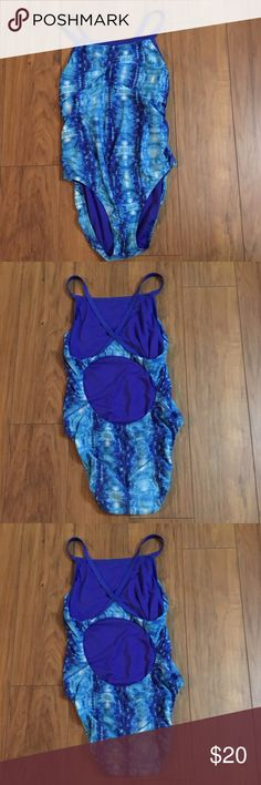 Women Swimsuit Blue One-piece Swimsuit-some snags on inside as pictured Speedo Swim One Pieces