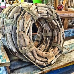 Very nautical driftwood wreaths - much more beachy than holiday.