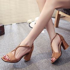 16.14$  Buy now - http://ali66g.shopchina.info/go.php?t=32802606710 - Shoes Woman 2017 Summer Fashion Suede Sandals New Buckle Women Shoes High 5CM  Normal Size 35-39 Zapatos Mujer Chaussure Femme  #buyonline