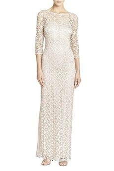 Sheath/Column Jewel Floor-length Lace Mother of the Bride Dress