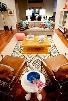 Home Chic Raleigh: Figuring Out My Living (room) Style - bold living room, animal fur chairs, eclectic living room, bright living room, masculine living room Eclectic Living Room, Eclectic Decor, My Living Room, Home And Living, Living Room Designs, Cozy Living, Design Salon, The Design Files, Living Room Pictures