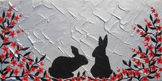 red black silver rabbits rabbit bunnies bunny art medium size japanese painting with cherry blossom design paintings asian modern abstract