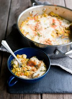 Summer Squash with Baked Eggs (Summer Squash = zucchini, yellow squash ...