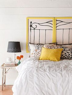 fun #headboard for the #bedroom! framed hand-painted linen