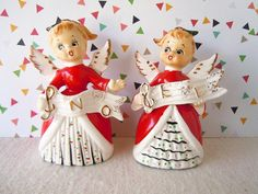 Vintage 1950's Christmas Angels Noel Salt and Pepper Shakers Mid Century Table Decoration Centerpiece