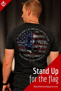 If you won't stand up for my flag during the anthem then don't live under it.  With that said, let me introduce our latest design: Stand Up.  Available on an ultra-soft tee and UV laminated vinyl decal that are both made in the USA.