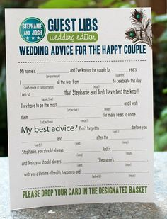Wedding Game Idea: Mad Libs for Weddings! They can take the place of a guest book. Guests love these & work on them while waiting for the ceremony to start. Don't forget to include a pen or pencil! ~ http://WeddingWoman.net ~