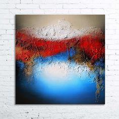 ALIOTH Tableau moderne abstrait contemporain peinture acrylique en relief noir doré bleu rouge beige blanc : Peintures par tableaux-abstraits-nathalie-robert