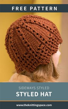 Look fab in no time with this Sideways Styled Knit Hat. This gorgeous piece features exquisite lace borders and stockinette stitch. And its vertical stripes of eyelets complete its lovely design. The pattern is ideal for intermediate knitters to work on.| Discover over 5,500 free knitting patterns at theknittingspace.com Knitting Patterns Free, Free Knitting, Free Pattern, Knitted Hats, Crochet Hats, Head Accessories, Lace Border, Stockinette, Vertical Stripes