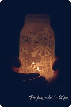 Snowflake lantern DIY project. So cute and easy!