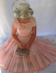 pink party dress and hat