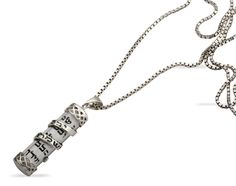 Glass Mezuzah Necklace with Silver Engraved 'Shema Israel' Ribbon - Canada Jewish Jewelry, Best Deals Online, Hamsa, Israel, Ribbon, Pendants, Pendant Necklace, Jewels, Messianic Judaism