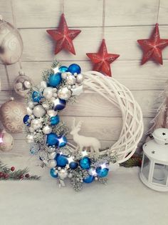 Items similar to White and blue Christmas wreath, Blue and silver door wreath, Deer Christmas wreath, White natural wicker wreath with decor, Holiday Wreath on Etsy Christmas Wreaths With Lights, Christmas Ornament Wreath, Christmas Deer, Holiday Wreaths, Christmas Crafts, Silver Christmas, Christmas Balls, Christmas Floral Arrangements, Christmas Centerpieces
