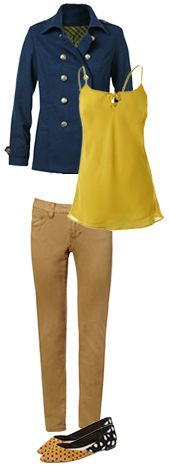 Just 15 items bring you 30 days of endless style! #CAbi Fall 2013 Gold Ruby Jean, Ochre Cami, and Prep School Jacket.