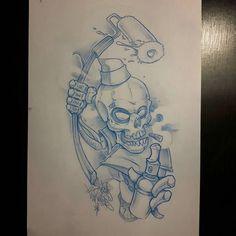 Graffiti skull serie :Last one  #ozer #tatouage #tattoo #graffiti #loveletters…