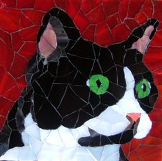 tête de chat en mosaïque
