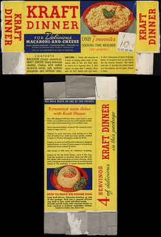Kraft Dinner - Macaroni-and-Cheese - box - 1940s maybe 1950s by JasonLiebig, via Flickr