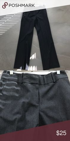 Ann Taylor Grey Trousers Great pants for the office! Lightweight and comfortable. 49% polyester, 48% rayon, 3% spandex. Worn 3 times. Would look great with a black blazer and white top! Ann Taylor Pants Trousers
