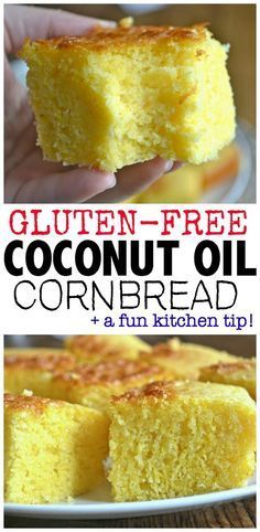 The Best Coconut Oil Cornbread. This Cornbread is gluten-free, ad a crispy outside and is incredibly moist. This has no flour, but isn't the least bit gritty. Check out what you do to the cornmeal to achieve this cornbread!
