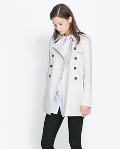 Autumn style inspiration! Love the trench with the jeans ... ZARA - SHORT CROSSOVER TRENCH COAT