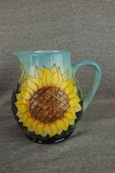 Moorcroft Art Pottery Sunflower Pitcher, Measures 7 1/2 Inches in Height