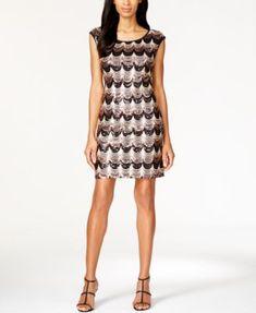 Connected Cap-Sleeve Sequin Scallop Dress | macys.com