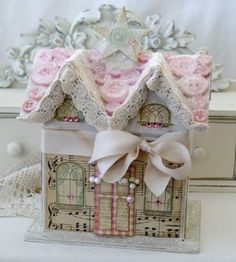 Image detail for -paper mache houses decorated for Christmas ~ adorable~