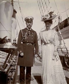 """Tsar Nicholas II of Russia and Empress Alexandra Feodorovna of Russia aboard Imperial Royal yacht,the Standart in 1908. """"AL"""""""