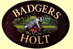 Badger on log design shown on 14 x oval house sign House Signs, Door Signs, Polymer Resin, Natural Background, Animal Habitats, Badger, Design Show, Animal Design, House Painting
