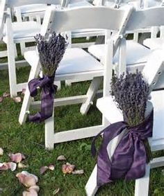 Tie lavender bundles at the end of each aisle for color and scent!