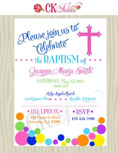 Rainbow Baptism Christening Invitation Custom Colors Available By Ckfireboots On Etsy