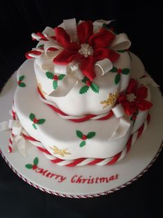 This was inspired by Colette Peters Christmas Cake pictured on the cover of American Cake Decorating Nov/Dec 1995 issue. This cake is the Wi. Christmas Cake Designs, Christmas Cake Decorations, Christmas Sweets, Christmas Cooking, Holiday Cakes, Xmas Cakes, Merry Christmas, Christmas Cakes Pictures, Cake Cookies