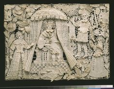 Panel, 1640-1670, England, Great Britain,  Needle lace, with seed pearls and glass beads, V&A  the Collections.