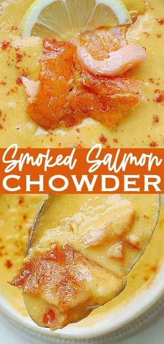 Tuck into a bowl of this smoked salmon chowder. The smoky flavor of the salmon pairs well with the sweet corn, red pepper, mashed potatoes and chives. Quick Soup Recipes, Best Seafood Recipes, Chowder Recipes, Salmon Recipes, Fish Recipes, Easy Dinner Recipes, Dessert Recipes, Smoked Salmon Chowder, Delicious Desserts