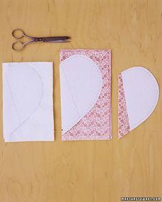 moldes coração em tecido