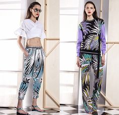 Just Cavalli 2015 Spring Summer Womens Lookbook Presentation - Roberto Cavalli Italy - White Denim Jeans Destroyed Destructed Holes Outerwear Blazer Fringes Crop Top Midriff Sandals Banded Strap Cargo Pockets Ethnic Folk Palm Trees Tropical Wrap Cropped Pants Trousers Flare Sweater Jumper Lace Dress Maxi Dress Leopard Safari Jungle Print Pattern Sweaterdress Shorts Poodle Circle Circular Skirt Bustier Accordion Pleats Shirtdress Biker Moto