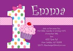 1st Birthday Invitation Samples First Wording And Invitations Cupcakes