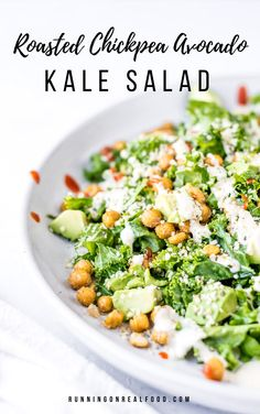 Try this vegan kale salad with avocado, roasted chickpeas, hemp seeds and creamy tahini lime dressing for a simple, healthy plant-based meal. Easy to make with simple ingredients, gluten-free. Easy Vegan Dinner, Vegan Dinner Recipes, Vegan Dinners, Vegan Recipes Easy, Whole Food Recipes, Vegetarian Recipes, Kale Salad, Soup And Salad, Chickpea Salad