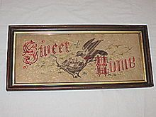 `Sweet Home' Rare Antique Victorian Punch Paper Motto Sampler w/ Mother Bird Feeding Baby Birds in Nest