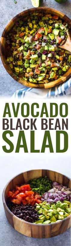 Avocado, black beans, tomato, onion and cilantro dressed with olive oil, garlic and lime making this salad a healthy nutritious choice for a side dish or a filling meal. I shared my tomato avocado… Avocado & Black Bean Salad Lori Bindner loribind a Healthy Drinks, Healthy Snacks, Healthy Eating, Detox Drinks, Healthy Food Prep, Healthy Sides For Burgers, Healthy Dinner Sides, Healthy Food Choices, Diet Snacks