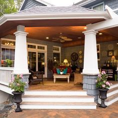 Love this back porch. Like the pillars and floor