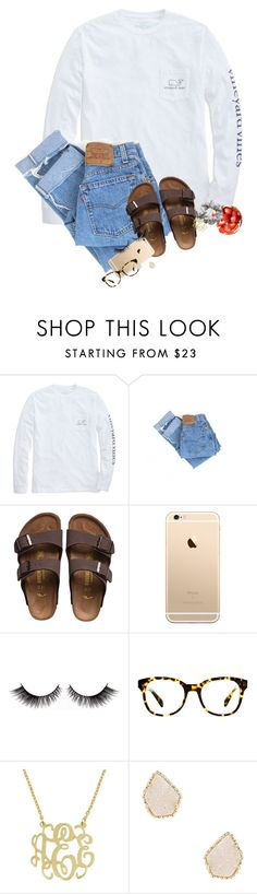 """Good morning! ☀️"" by erinlmarkel ❤ liked on Polyvore featuring Levi's, Birkenstock, Warby Parker, Kendra Scott and H&M"