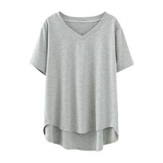High Low V Neck T-Shirt Gray ($23) ❤ liked on Polyvore featuring tops, t-shirts, deep v neck top, grey t shirt, grey tee, gray t shirt and low v neck t shirts
