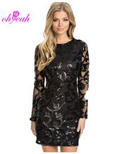 R70205 Brocade Sequin Fashion Dress 2015 Long sleeve Sexy leather decorated dress ohyeah Black women Bodycon dress for women(China (Mainland)) ali 15$