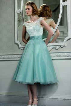 Retro Vintage Style Lace Organza Tea Length Wedding Prom Formal Dress